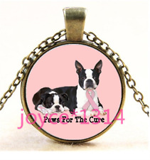Dog Beat Breast Cancer Cabochon bronze Glass Chain Pendant Necklace TS-4237