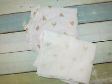 Cloud Island Muslin Metallic Gold Heart Thin Cotton Target Baby Blanket LOT 2