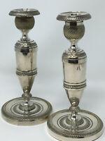 Paire De Bougeoirs de Table Métal Argenté Silver Plate Style Louis XVI