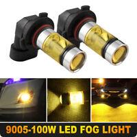 2PCS 9005 HB3 H10 100W LED 2323 Fog Driving DRL Light Bulbs 3000K Amber Yellow