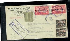 GUATEMALA COVER (P1809B) COVER 1931 PAN AM SCHOOLS 6CX2+15CX2+1C REEG TO GERMANY