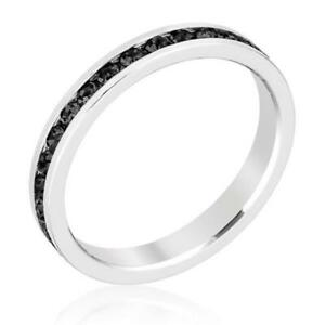 White Gold Plated Stackable Birthstone Eternity Ring Made With Swarovski Stones