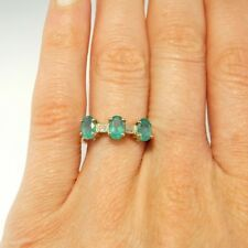 Yesterday Today Tomorrow Emerald Diamond Engagement Ring 10K Yellow Gold Vintage