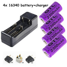 Universal charger + 4x2300mAh CR123A 16340 Flashlight Torch Rechargeable Battery
