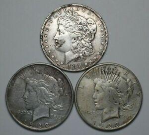Lot of 3 Morgan & Peace Dollars Circ - 183835A