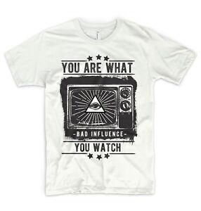 Illuminati T Shirt OBEY NWO Mason Mind Control TV Television Triangle Eye