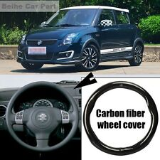 For Suzuki Swift Black Carbon Fiber Leather 38cm Steering Wheel Cover Case