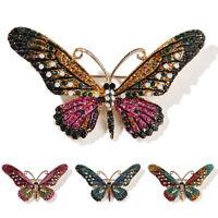Schmetterling Tier Kristall Strass Brosche Pins Frauen Schmuck Geschenk BouXJ