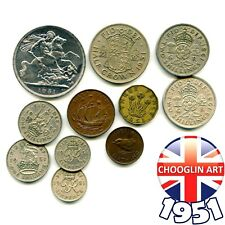 Collection of 1951 British GEORGE VI issue coins, 70 Years Old!