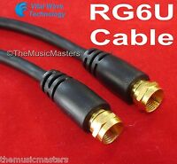 Black 100 ft RG6U Coaxial Digital Video Cable HD TV Satellite Antenna Wire VWLTW