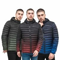 Mens Jacket Crosshatch  Contrast Coat Bubble Quilted Puffer Padded Hooded
