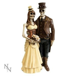 Steampunk Skeleton Bride Groom Skull Wedding Ornament Cake Topper Keepsake Gift