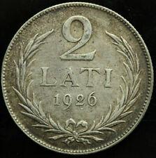 LATVIA 2 LATI 1926 SILVER COIN (XF) #324