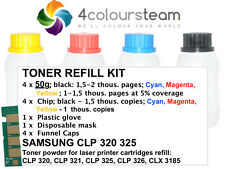 4x 50 G ricarica Toner Reset CHIP PER SAMSUNG CLP 320 321 325 326 CLX 3185 CMYK