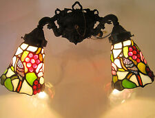 BIRDS BERRIES TIFFANY STYLE~DUAL FIXTURE WALL MOUNT SCONCE~2 LIGHT~STAINED GLASS