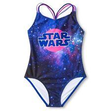 Disney Star Wars Girls' Purple Blue Galaxy One Piece Swimsuit, XS 4/5