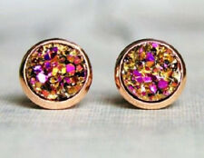 ROSE GOLD SPARKLING DRUZY RESIN PINK/GOLD ROUND CLIP ON EARRINGS 12MM