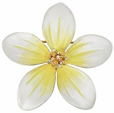 RUCINNI  Plumeria Brooch with Swarovski Crystal and 20K Gold Plated