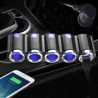 4 Way Car Cigaret Lighter Socket Outlet Adapter/Splitter Touch Switch Dual USB--