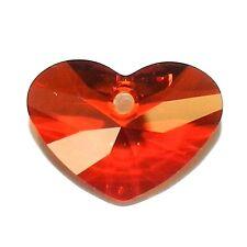 SCCA167f RED MAGMA 17mm Faceted Crazy 4 U Heart Swarovski Crystal Bead 1/pkg