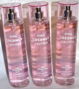 3 BATH & BODY WORKS PINK COCONUT CALYPSO FINE FRAGRANCE MIST 8 FL OZ  SPRAY NEW