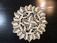 Vintage Doilie Hand Made Doily Crochet Table Lace Dresser Scarf Staging N512