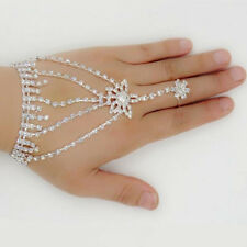 Harness Link Finger Ring Hand Chain Bracelet Bridal Jewelry Slave Bracelets