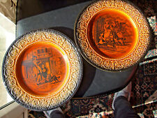 Pair of Crown Devon (Fieldings) Cries of London Plates, Rare Brown Glaze