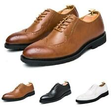 Oxfords Men Business Faux Leather Shoes Pointy Toe Brogue Carved Wing Tip Work D
