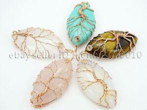 Natural Gemstone Reiki Chakra Beads Tree of Life Marquise Shape Copper Pendant