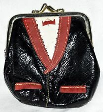 Vtg Tuxedo Design Black Faux Patent Leather with Red Coin Purse Kiss Lock Clasp