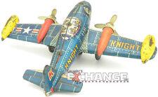 Vintage: Bandai 116 Knight Propeller Friction Rotation Tin Airplane, WORKING!