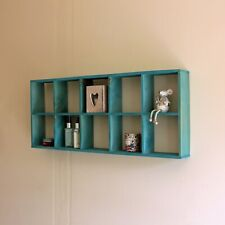 Wall Shelf Storage Pigeon Hole Cube Decor Display Rustic Wood Shelving Turquoise