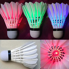 Sport Dark Night Rainbow Glowing LED Badminton Shuttlecock Birdies Lighting