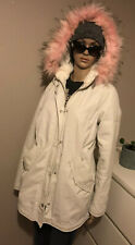 River Island Cream Coat Parka With Pink Faux Fur Size 10
