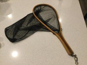 Vintage Fishing Net Bent Wood Trout Fly Fishing net