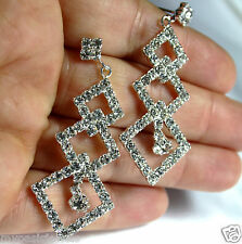 4x Chandelier Earring Earrings Austrian Crystal Rhinestone Bridal Pageant Prom