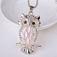 Pendant Chain Gold Sweater Long Necklace Fashion Women Jewelry Crystal Opal Owl