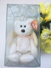 TY Beanie Baby Rare Halo White Angel Bear In Protective Case Several ERRORS