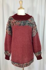 Long Hand Knit Mohair Sweater Pullover Crewneck Boucle Rust Green Soft Cozy M L