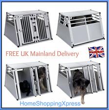 XL Large Double Dog Car Transport Box Aluminium Travel Cage Carrier Crate Pet
