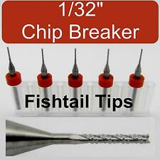 "FIVE 1/32"" Router Bits - Carbide - Chip Breaker - Fish Tail Tip CNC dremel LU"