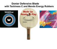 Table Tennis Bat: Donier Defensive Blade +Butterfly Tacky C +Stiga Mendo Energy