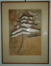 Japanese architecture drawing with mixed media signed M. Ishihama 1959 2. 12.
