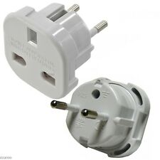 UK to EU European Plug Adaptor with Safety Shutter - White