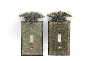 Vintage Patriotic Bald Eagle Federal Hammered Metal Light Switch Wall Plate