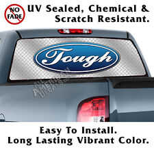 Ford TOUGH Diamond Plate BACK Window Graphic Perforated Film Decal Truck SUV
