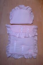 pink / white dolls pram set to fit oberon silver cross prams  coach built prams