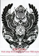 UK 21X15CM Owl heart peach tribal sign Half Sleeve Temporary Tattoo ARM BACK