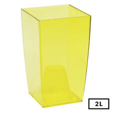 Medium SIze Square Orchid Transparent YELLOW Indoor 20cm Tall Flower Decor Pot